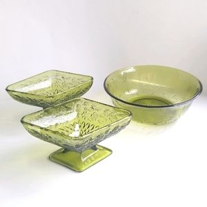 Vintage Indiana Glass Company Green Dishes